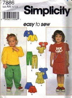 Simplicity 7886 Girls Dress Top Skirt Pants Sewing Pattern S 1/2, 1, 2