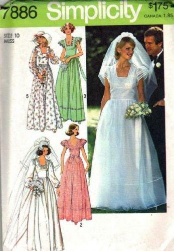 Simplicity 7886 Misses 70s Bride Bridesmaid Dress Sewing Pattern Sz 10