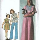 Simplicity 7993 Girls Dress Top 70s Vintage Sewing Pattern Size 12