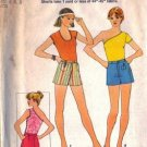Simplicity 8037 Misses 70s 1 Yard Shorts, Tops Sewing Pattern Sz 6, 8