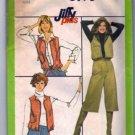 Simplicity 8193 Misses 70s Vest, Hood, Gauchos Sewing Pattern Size 8