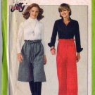 Simplicity 8266 Misses 70s Culottes, Pants Sewing Pattern Size 6, 8