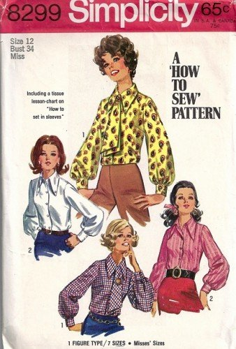 Misses 60s Blouse, Ascot Sewing Pattern Simplicity 8299 Size 12