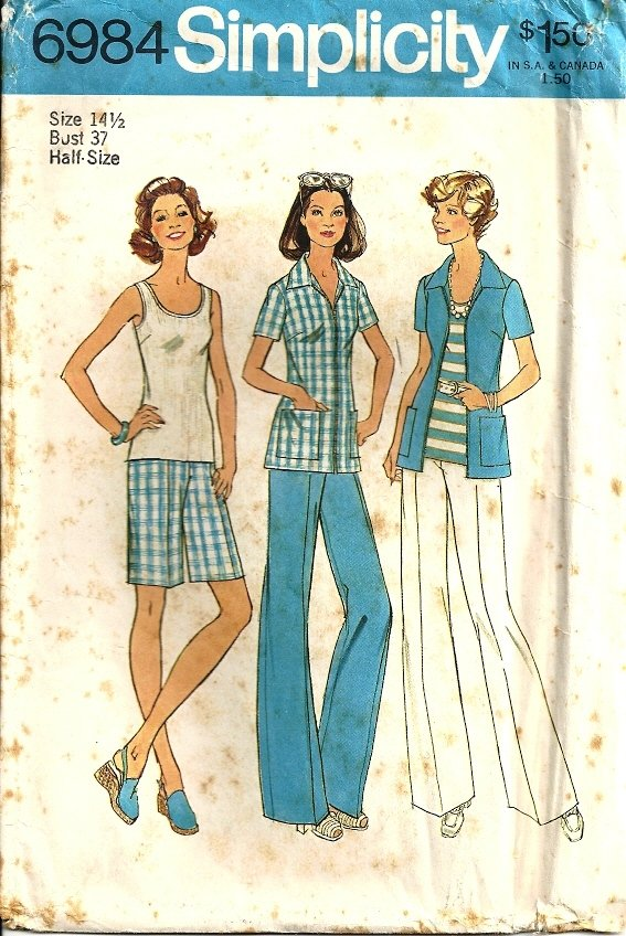 Simplicity 6984 Misses Shirt, Pants, Shorts Sewing Pattern Size 14 1/2