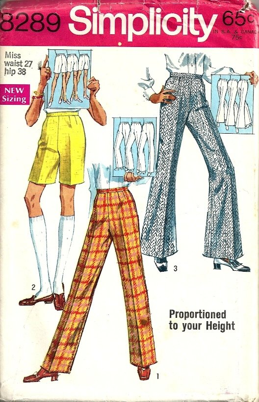 Simplicity 8289 Misses Proportioned Pants Vtg Sewing Pattern Waist 27
