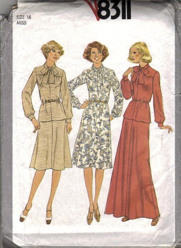 Misses 70s Dress, Top, Skirt Sewing Pattern Size 16 Simplicity 8311