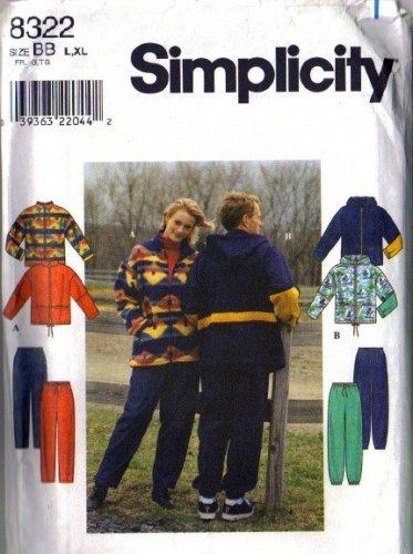Simplicity 8322 Mens, Misses Jacket, Pants Sewing Pattern Size L, XL