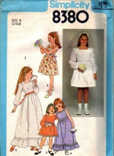 Simplicity 8380 Girls Long, Short Dress Vintage Sewing Pattern Size 5