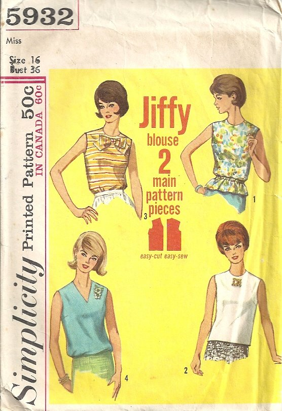 Simplicity 5932 Misses Blouse Top 60s Vintage Sewing Pattern Size 16