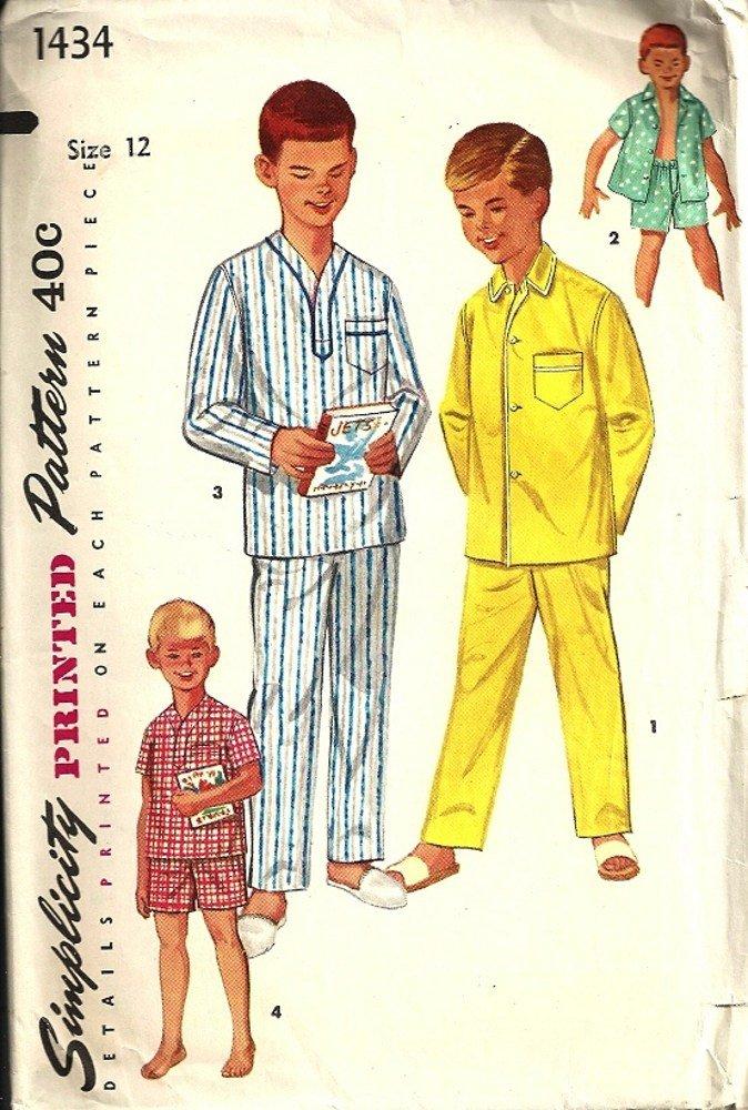 Simplicity 1434 Boys Long, Short Pajamas Vintage Sewing Pattern Size 12