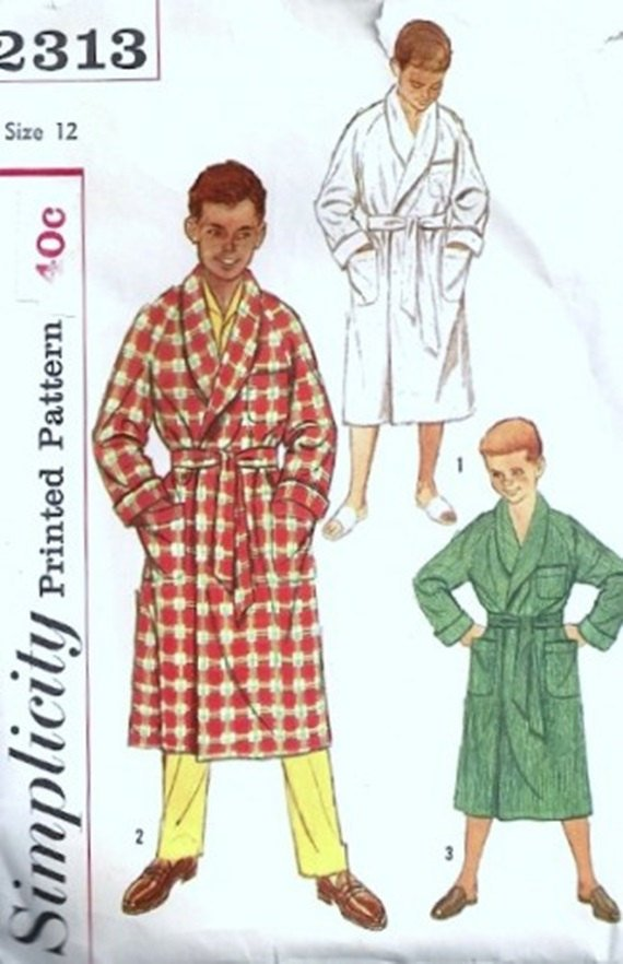 Simplicity 2313 Boys Wrap Robe 50s Vintage Sewing Pattern Size 12 Chest 30