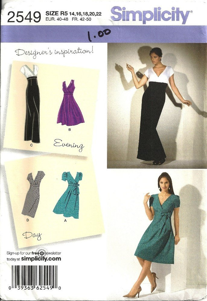 Simplicity 2549 Misses Evening, Day Dress Sewing Pattern Size 14, 16, 18, 20, 22 Uncut