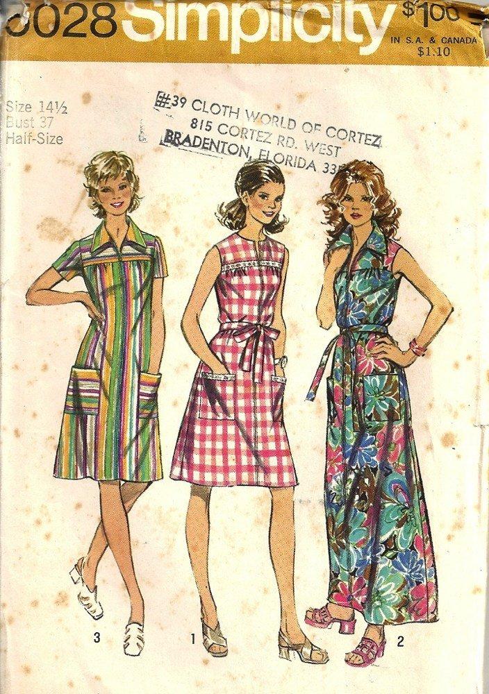 Simplicity 5028 Misses Smock Dress Vintage Sewing Pattern Half Size 14 1/2