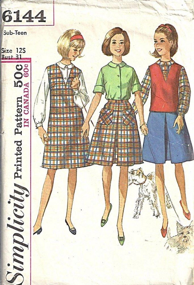 Simplicity 6144 Teen Girl Jumper Skirt Blouse 60s Sewing Pattern Size 12