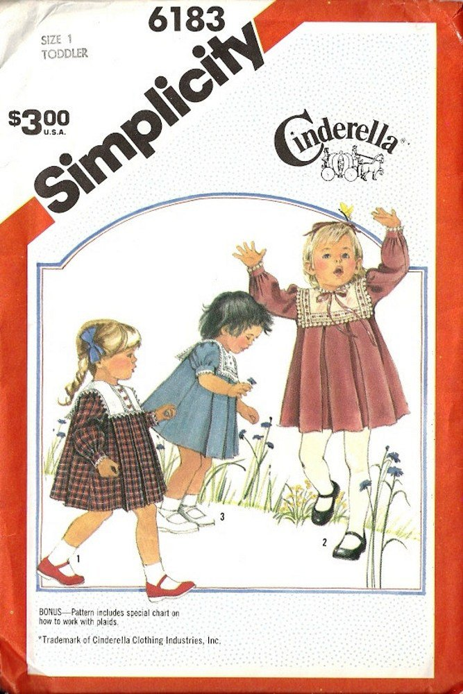 Simplicity Cinderella 6183 Girl Dress Vintage Sewing Pattern Size 1 Uncut