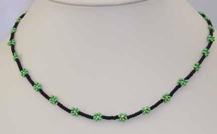 black & green daisy chain child's necklace, handcrafted jewelry, artisan jewelry, children's jewelry