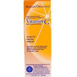 Avalon Organics, Vitamin C Vitality Facial Serum, 1 fl oz (30 ml)