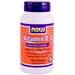 Now Foods, Vitamin D-3, 1000 IU, 180 Softgels