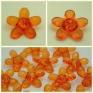 Lot 24 pcs 40L Clear Crystal Light Orange Flower 2 Hole Buttons