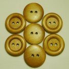 Lot 24 pcs 48L Handmade Wood Round Brown Buttons Premium Quality