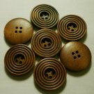 Lot 24 pcs 40L Handmade Wood Layer Round Brown Buttons Premium Quality