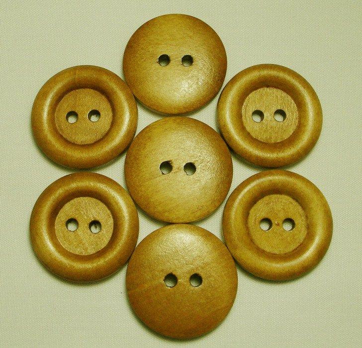 Lot 24 pcs 40L Handmade Wood Round Brown Buttons Premium Quality