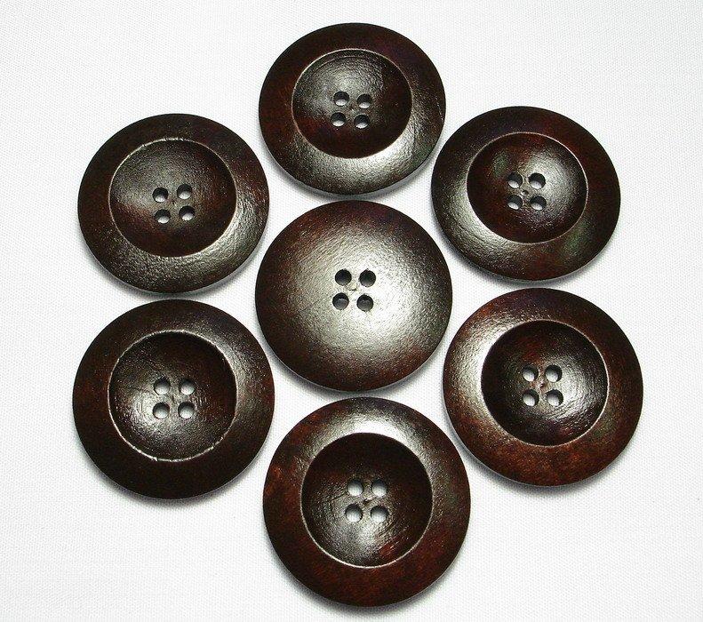 Lot 24 pcs 42L Handmade Wood Round Dark-Brown 4 Hole Buttons Premium Quality