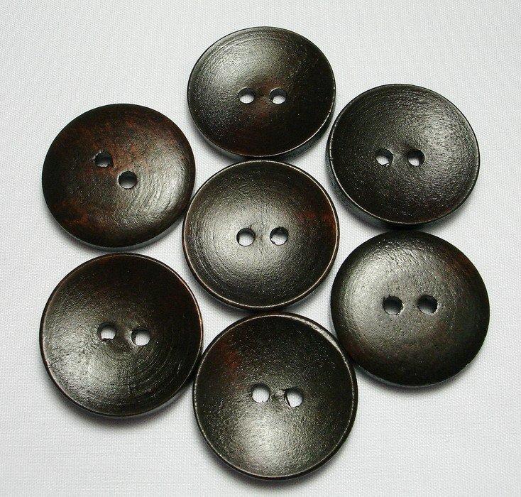 Lot 24 pcs 40L Handmade Wood Round Dark-Brown 2 Hole Buttons Premium Quality