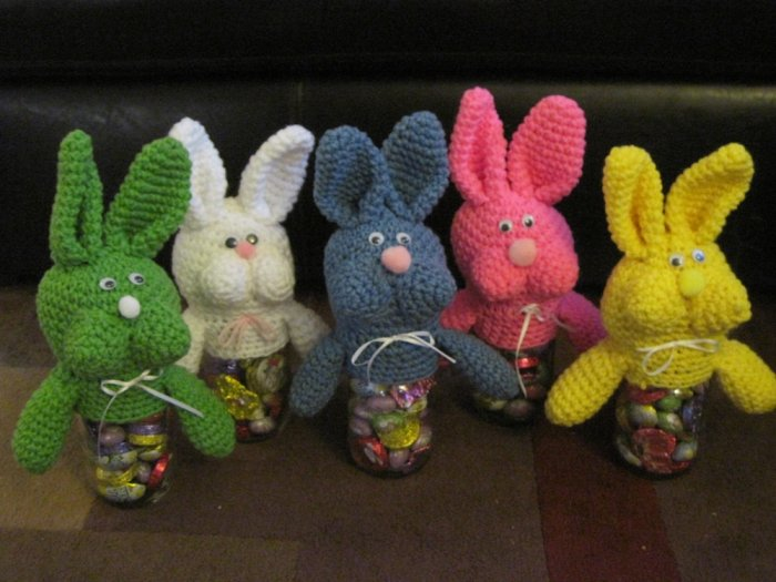 Crochet Bunny Jar Covers