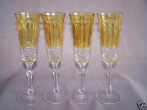 AJKA Crystal Shelley Yellow Champagne Flute Set/4 New