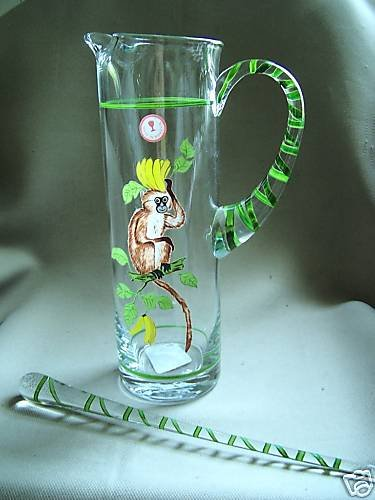 LYNN CHASE Monkey Martini Pitcher with Stirrer New
