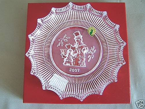 WATERFORD Crystal Christmas Plate Jolly Snowman 2007 NIB