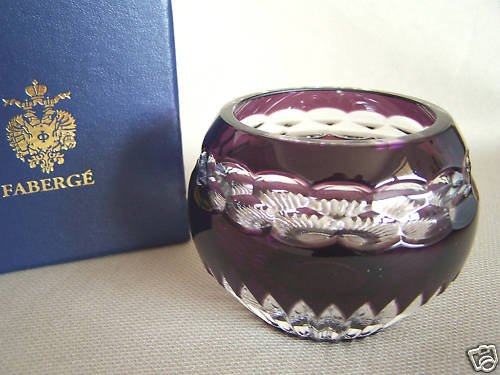 FABERGE Purple Crystal Nadya Votive Candle Hold NIB