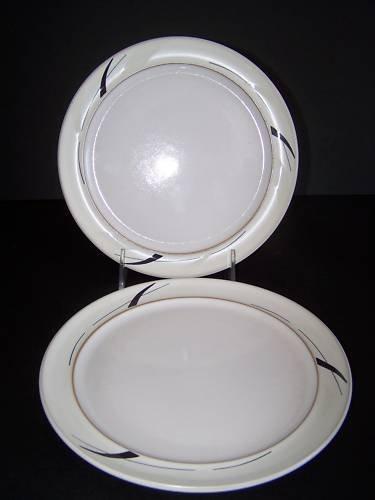 DENBY Oyster Strands Wide Rimmed Tea Plates Set/2 New