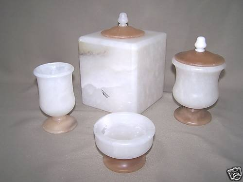 LABRAZEL White Alabaster Bath Accessories Set Italy New