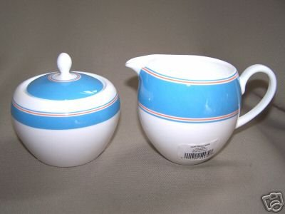 LENOX Cays Stripe Blue Sugar Bowl Creamer Kate Spade