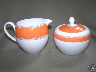 LENOX Cays Stripe Orange Sugar Bowl Creamer Kate Spade