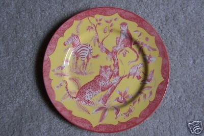 Lynn Chase Salad Plate African Inspirations Cranberry Yellow Design  New