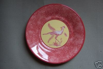 Lynn Chase Saucer African Inspirations Cranberry Yellow Design New