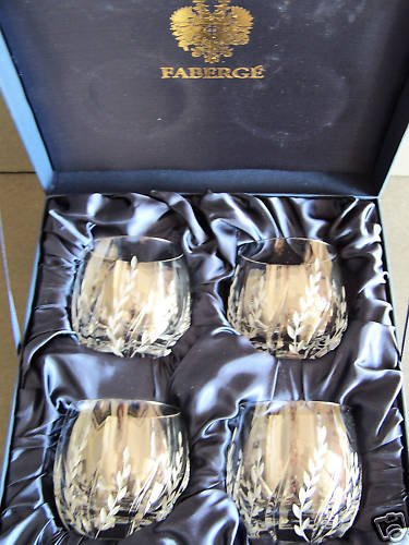 FABERGE Clear Crystal Printemps DOF Glasses Set/4 NIB