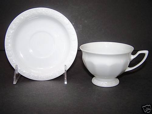 ROSENTHAL Maria White Footed Cup and Saucer Set/6 New