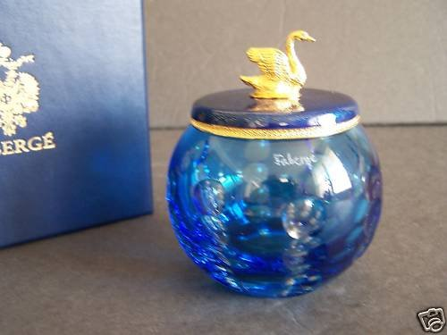 FABERGE Crystal Votive With Enamel Guilloche Top New