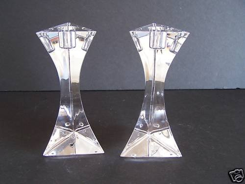 ORREFORS Crystal Triangle Candlestick Holders Set/2 NIB
