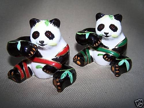 LYNN CHASE Panda Perfect Salt & Pepper Shakers Set New