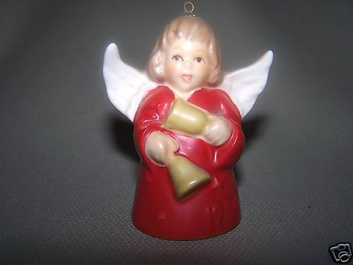 GOEBEL Annual Angel Bell 1986 Christmas Ornament Red Mint