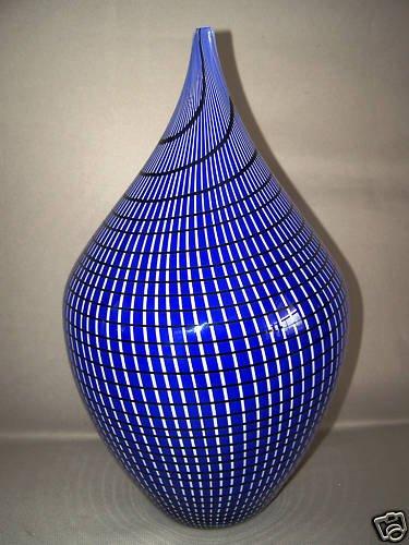 ALBERTO DONA Large Cobalt Vase MURANO Art Glass New