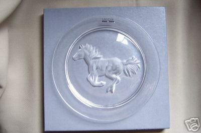LALIQUE Crystal Clear Plate Limited Edition Horse  NIB