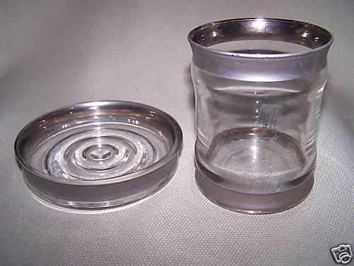LABRAZEL Soap Dish Tumbler Set Silver Rim Italy New