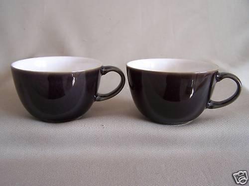 DENBY Stoneware Oyster Tea Cup Set/2 England New