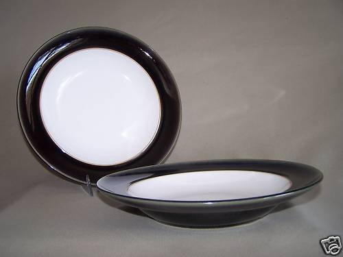 "DENBY Stoneware Oyster Gourmet Bowl 11"" Set/2 New"